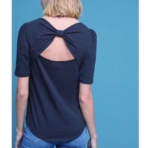 Anthro Meadow Rue Bow Back Shirt